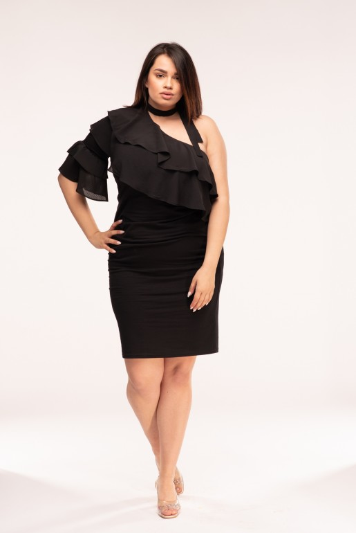 BODYCON DRESS WITH RUFFLE ONE SHOULDER